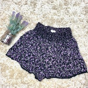 Aeropostale Black Purple High Waist Floral Short L